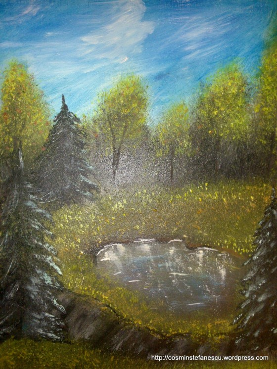 Pictură în ulei executată de Andra Stancu (foto - Cosmin Ștefănescu)